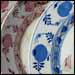 Onion pattern in red and blue (Underglaze Print Pattern #7006).